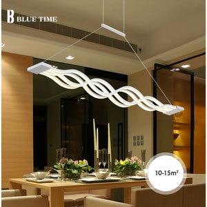 Image 3 - 120CM biały czarny nowoczesne lampy wiszące do jadalni pokój dzienny kuchnia ściemnialna lampa wisząca led lamparas kształt fali