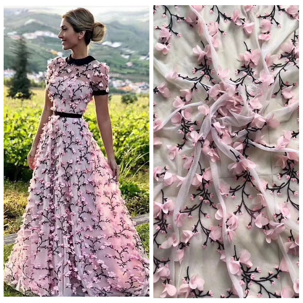 5yards/lot New fashion  3D chiffon flower on netting embroidered bridal/ evinging/show dress lace fabric 130cm width