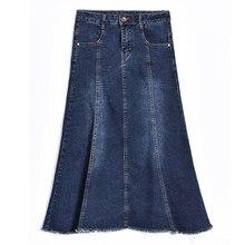 2018 Otoño Invierno Denim faldas para las mujeres más el tamaño ocasional  una línea azul Jeans b810068ae0c7