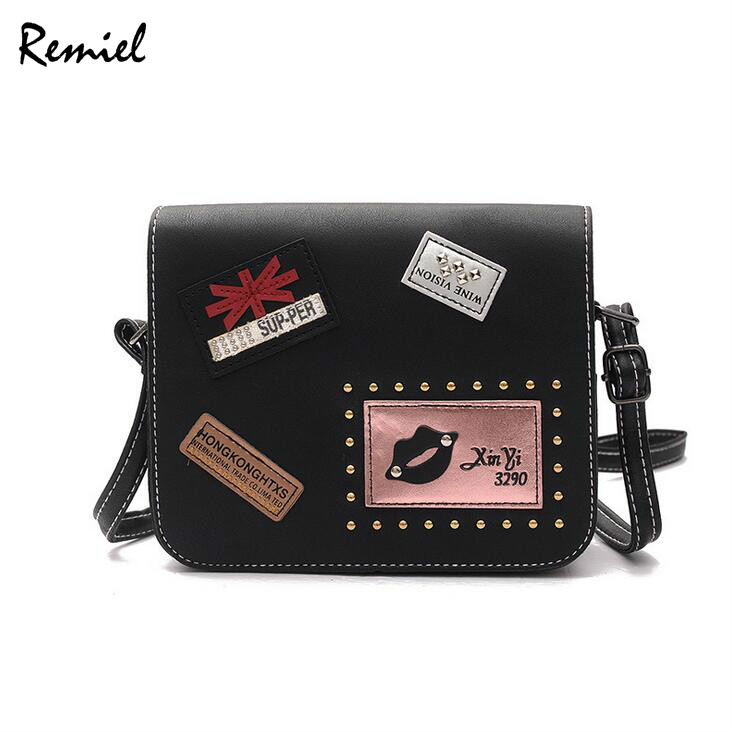 2018 Fashion New Female bag Handbags Quality PU leather Women bag British Retro Badge Square bag Rivet Shoulder Messenger Bag free shipping fashion new handbags high quality pu leather women bag british retro bucket bag lock chain shoulder female bag