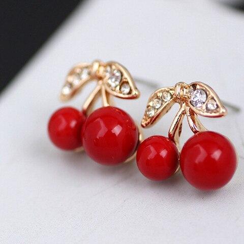 Купить вишневые серьги из смолы милые гвоздики металлические красные