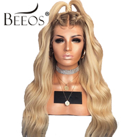 Beeos 150% 4T613 Blonde Lace Front Wig Ombre Human Hair Wigs Brazilian Remy Hair Women Wavy Lace Wigs with Baby Hair PrePlucked