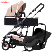3 in 1 Baby stroller with high landscape two way push Baby Strollers For newborn baby pram carriage with car seat