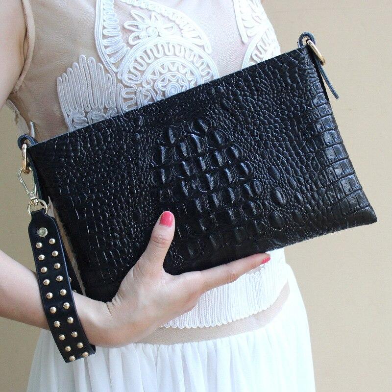 Vrouwen Echt Lederen Koeienhuid Handtassen Mode Nieuwe Krokodil Patroon Clutch Bags Voor Lady Europese Stijl Dag Clutch Bags A111-in Koppelingen van Bagage & Tassen op  Groep 3