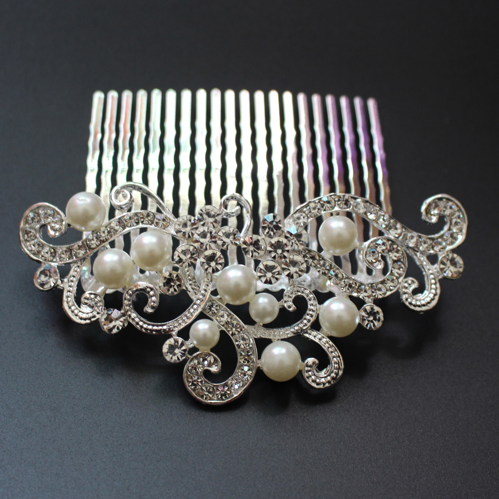 Vintage faux pearl hair combs tiara crystal bridal wedding for Decor jewelry