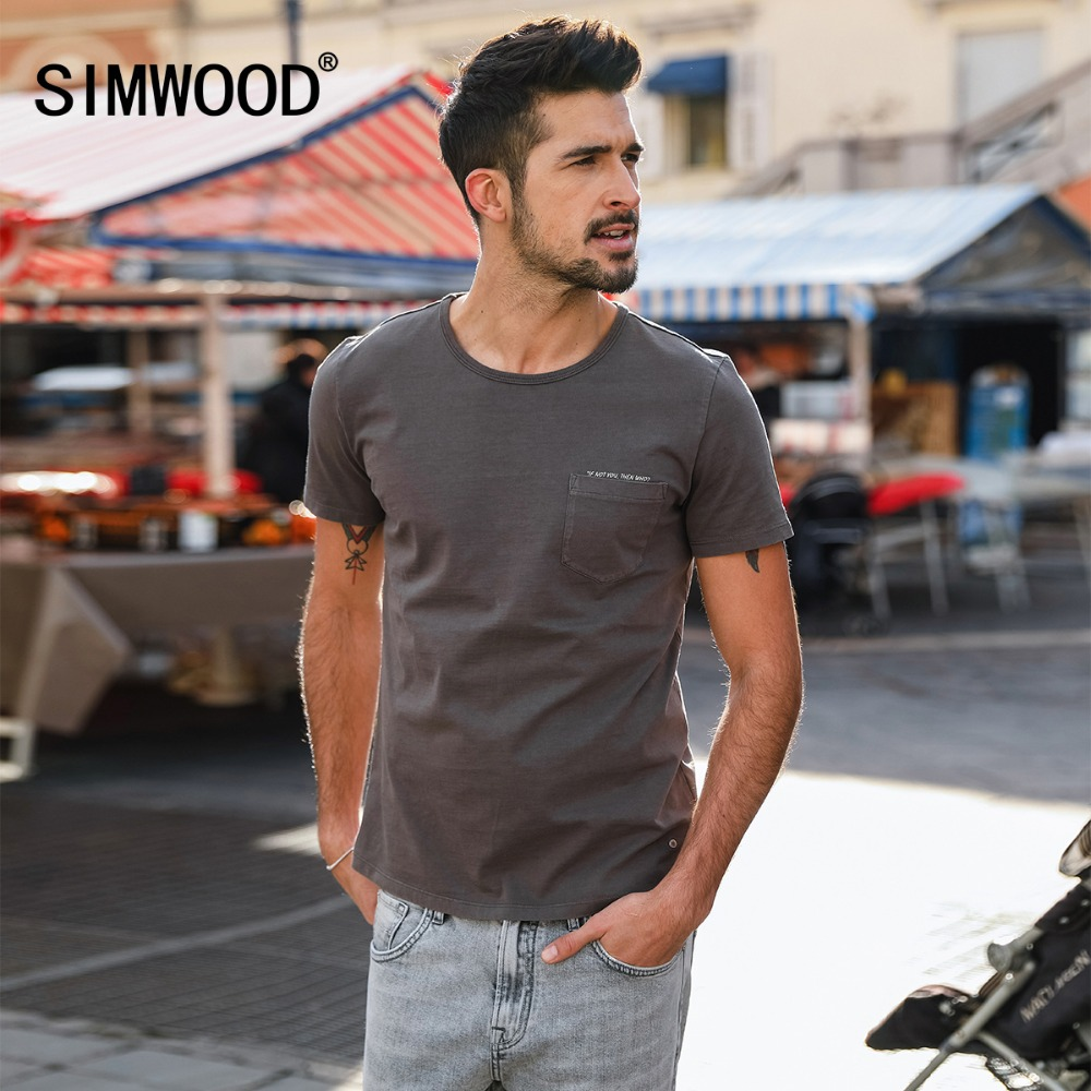 SIMWOOD 2019 Summer   T     Shirts   Men Fashion 100% Pure Cotton Short Sleeve Tees Pocket Letter Plus Size Tops Brand Clothing 180001