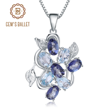 GEMS BALLET 2.4Ct Natural Sky Blue Topaz Mystic Quartz 925 Sterling Silver Gemstone Pendant Necklace for Women Fine Jewelry