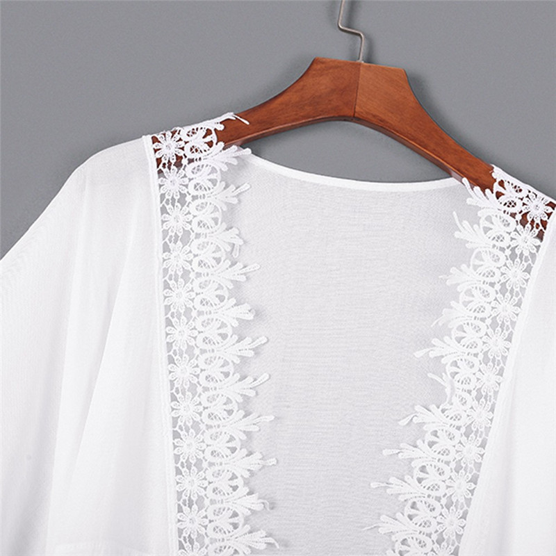 2018 summer cool Cover Blouse Tops Long Lace Swimwear Beach Swimsuit Smock Fashion sexy fashion dress for Wome ladies #0601