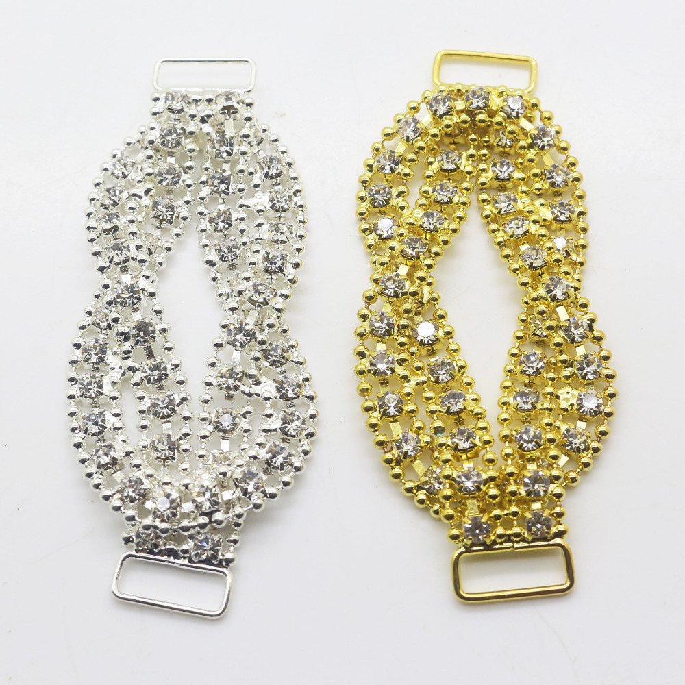 2 Pieces 8cm Silver Gold Rhinestone Bikini Connector Buckle Chain Fit For Swimming Wear Bridal Dress.