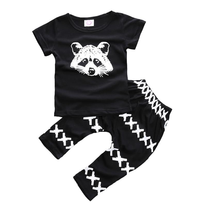 2017 Forår og sommer Baby Drengetøj Bomuld Fox Kortærmet T-shirts + Korsbukser 2 stk. Sæt til småbørn Babyudstyr Babyklæde