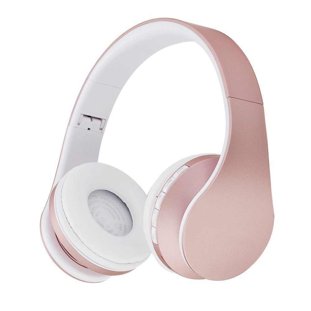 Fashion Rose Gold Wireless Bluetooth Headphones Headset With Microphone Bluetooth On Ear Headphone For Women Girl Kids Aliexpress