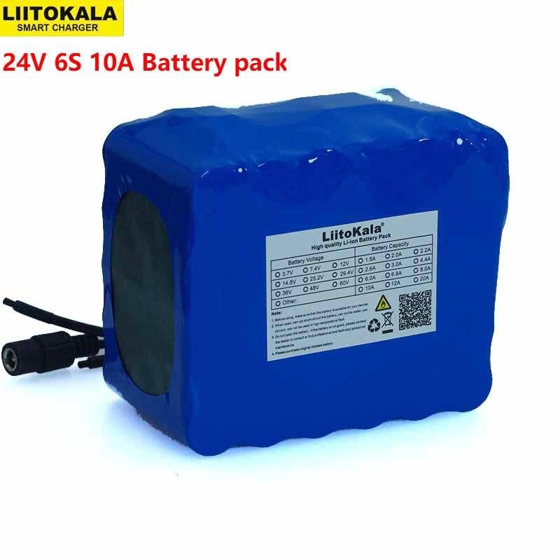 LiitoKala 24V 10Ah 6S5P 18650 Battery li ion battery 25 2v 10000mAh electric bicycle moped electric