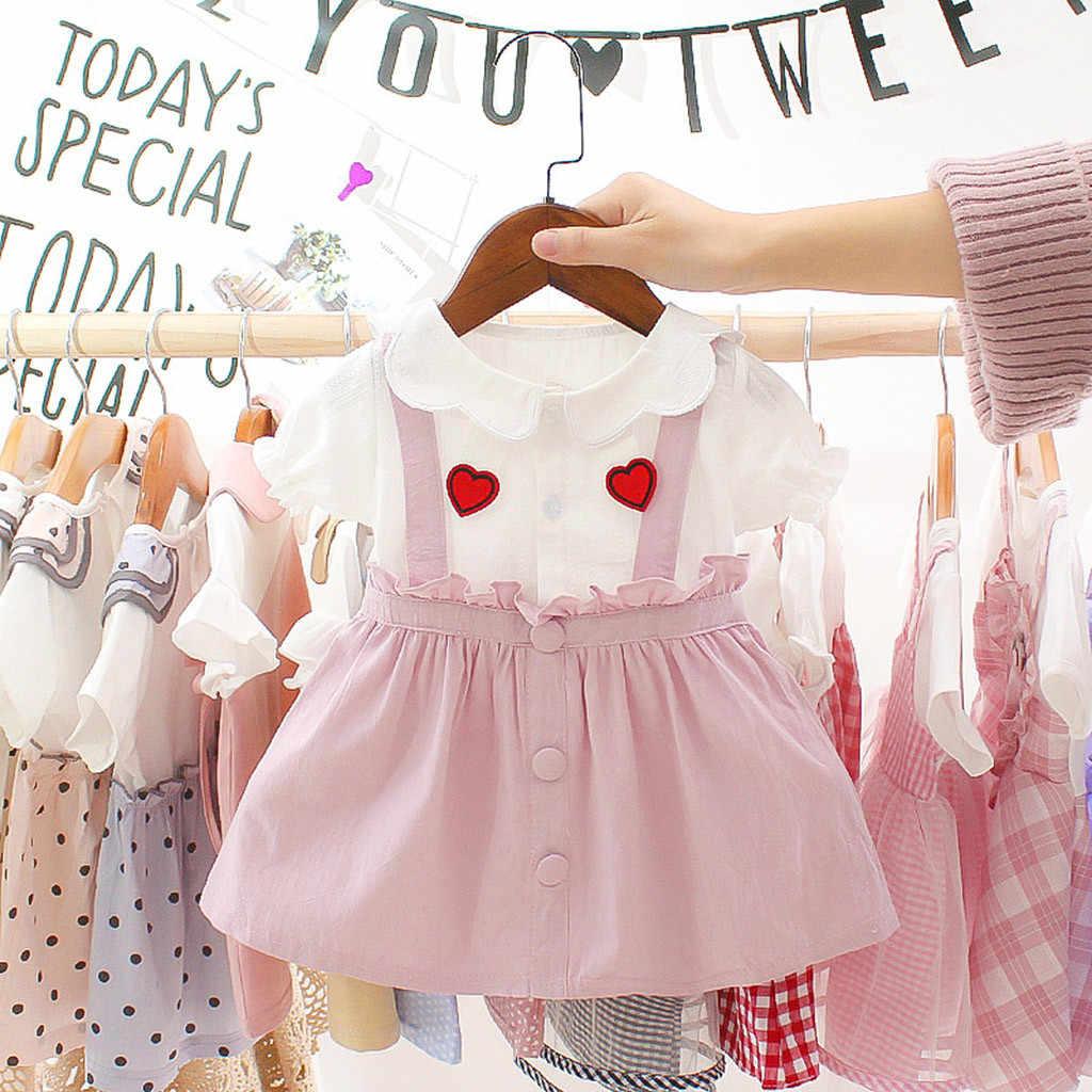 Baby Baby Meisjes Korte Mouw Liefde Pasgeboren baby Kinderen kleding Set Baby Kids Outfit Print Ruches Prinses Jurk Kleding