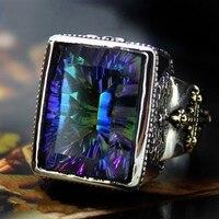 Новые оригинальные большие камни квадратный Серебро Кольца человек кольцо стерлингового серебра 925 Ретро властная тенденция