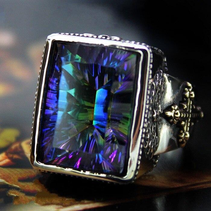 GV натуральная большие камни квадратный Серебро Кольца человек кольцо стерлингового серебра 925 Ретро властная тенденция