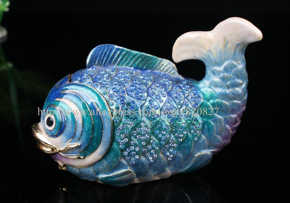 Tropical Nemo Fish Handmade Jeweled Metal & Enamel Trinket Box
