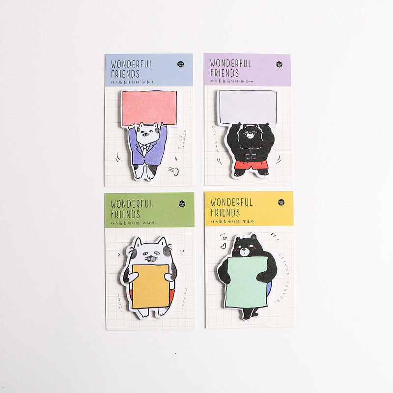 36 pcs/Lot muscle animal sticky notes Cartoon friends post memo pad marker it stickers Office accessories School supplies <font><b>DM120</b></font> image