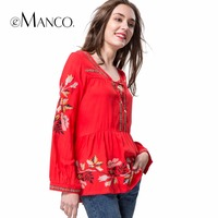 E Manco 2017 Europe And The United States New Style Unique Floral Embroidered Women S Dress