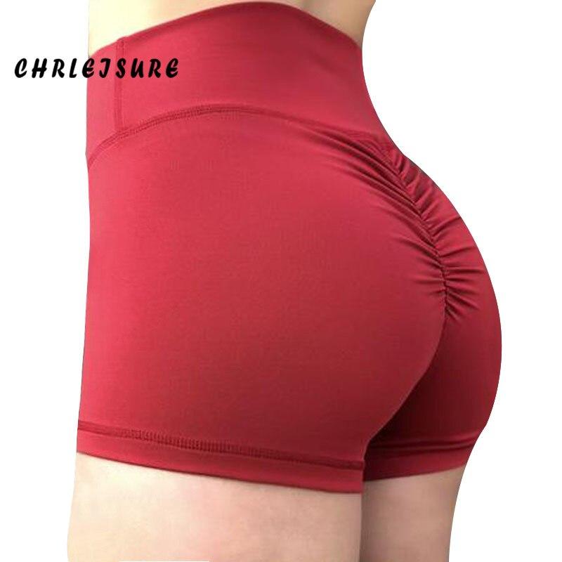CHRLEISURE 2018 pantalones cortos de entrenamiento de cintura alta para mujer Pantalones cortos deportivos Sexy Push Up pantalones cortos de poliéster Breathab pérdida de peso Fitness pantalones cortos