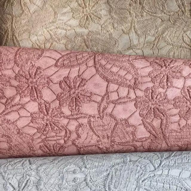 Embossed Lace Flowers PU Leather Fabric Synthetic Leather For DIY Bows,  Shoes, Handbags And