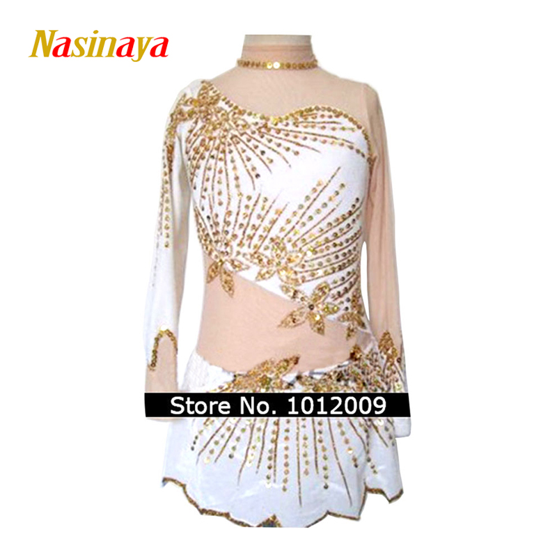 Customized Costume Ice Skating Figure Skating Dress Gymnastics Adult Child Girl Skirt Competition White Golden Edge Rhinestone vik max adult kids dark blue leather figure skate shoes with aluminium alloy frame and stainless steel ice blade