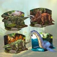 X025 3D Animal Puzzles Dinosaurs Triceratops Tyrannosaurus Rex DIY Paper Model Children Educational Toys Hot