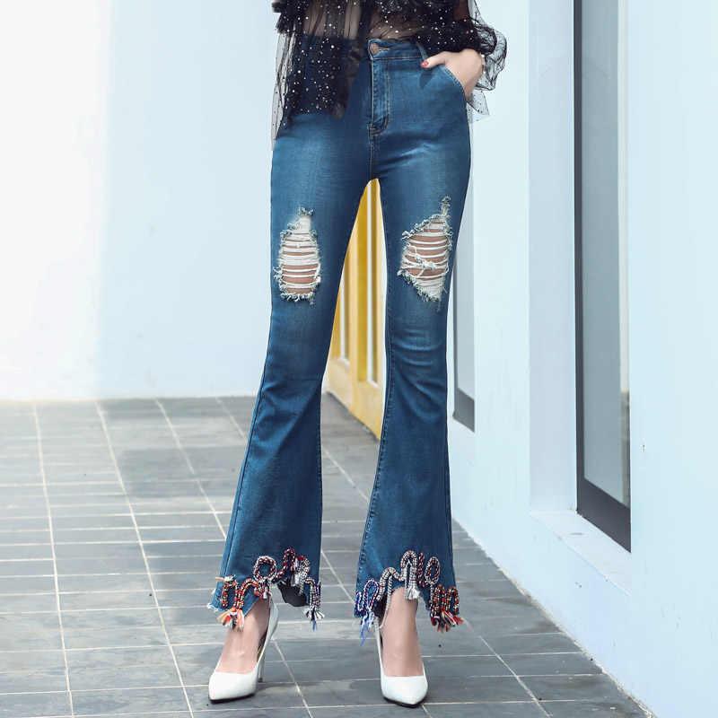 2017 chaud Sexy déchiré petit ami Jeans taille haute jeans femme élastique broderie trou botte coupe pantalon slim 9514 #