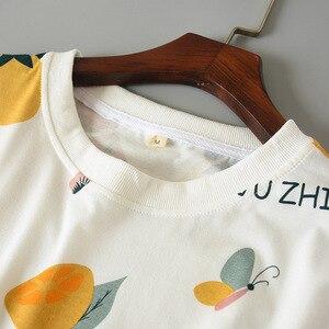 Image 4 - 2019 Summer And Spring Ladies Pajamas Set Women Cute Cartoon Printed Sleepwear Set 2Pcs Short Sleeve+Shorts Full Cotton Homewear