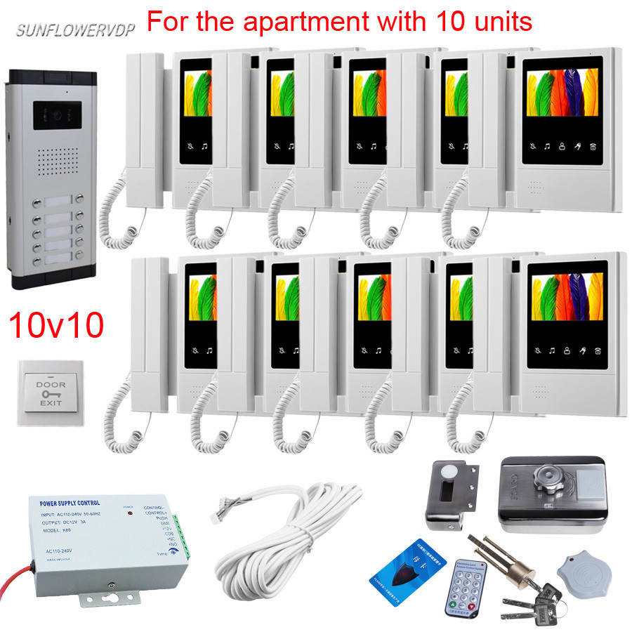 10 Buttons Home Telephone Intercom Door Video Call 10 Pcs 4.3 Color Handle & Hands-free Wired Video Door Entry+Rfid Card Lock