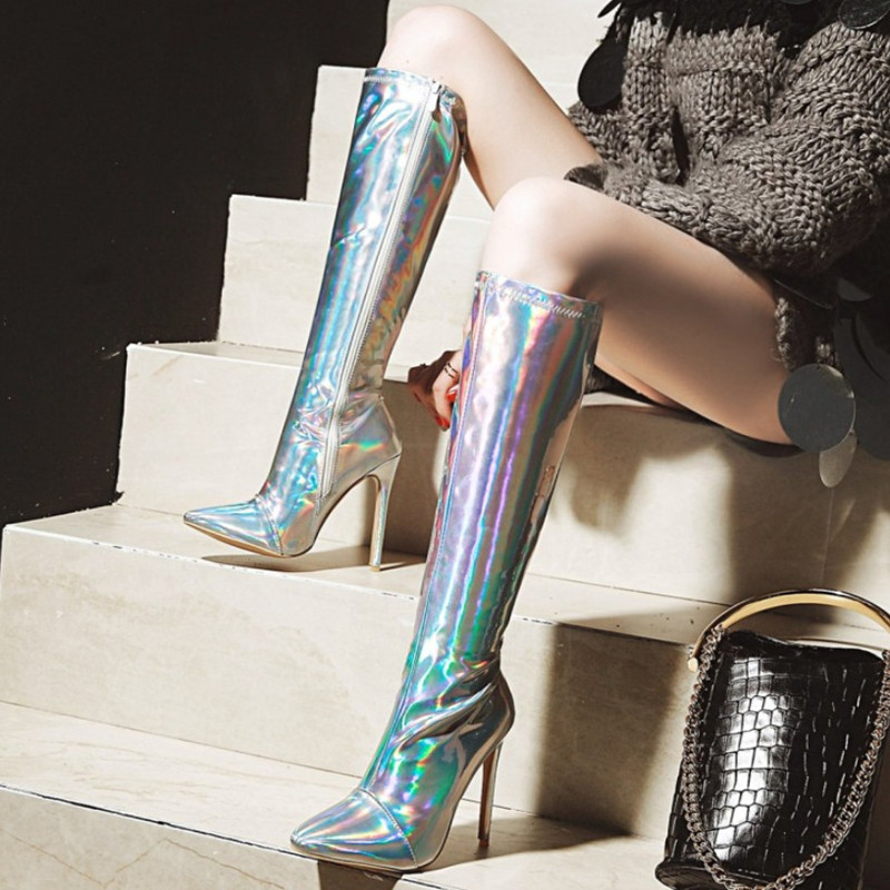 Big Size 43 Pointed Toe Over The Knee Boots Sexy High Heels Stiletto Heel Winter Boots Female Fashion Boots Woman 2018 Pumps summer bling thin heels pumps pointed toe fashion sexy high heels boots 2016 new big size 41 42 43 pumps 20161217