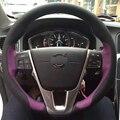 Dg roxo preto tampa da roda de direcção do carro de couro para volvo s60 v40 v60 v70 2014 xc60