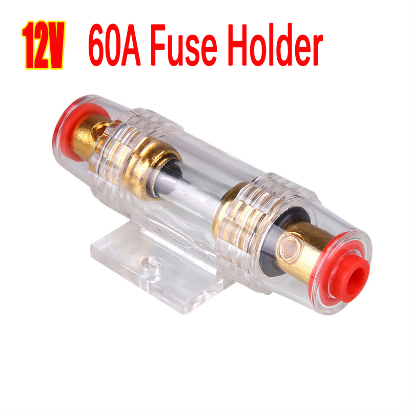 DC 12V Universal Car <font><b>60A</b></font> <font><b>Fuse</b></font> <font><b>Holder</b></font> Gauge <font><b>60A</b></font> Car Stereo Audio Circuit Breaker Inline <font><b>Fuse</b></font> Protect Car Amplifier Block image