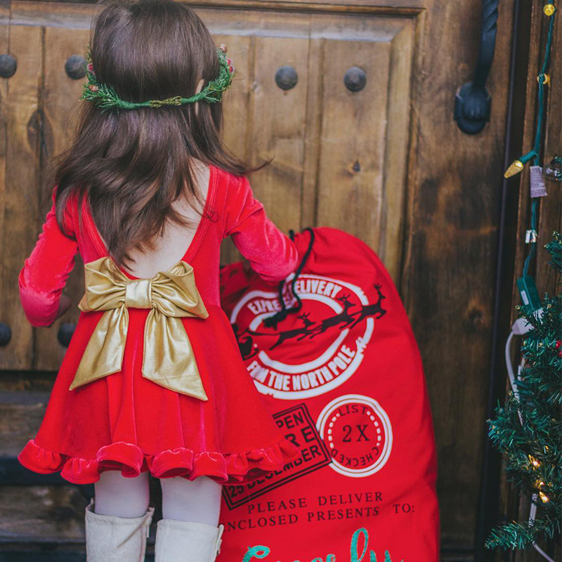 Christmas Dress Velvet Long Sleeve Bowknot Pleated Xmas Dresses for Baby Girls