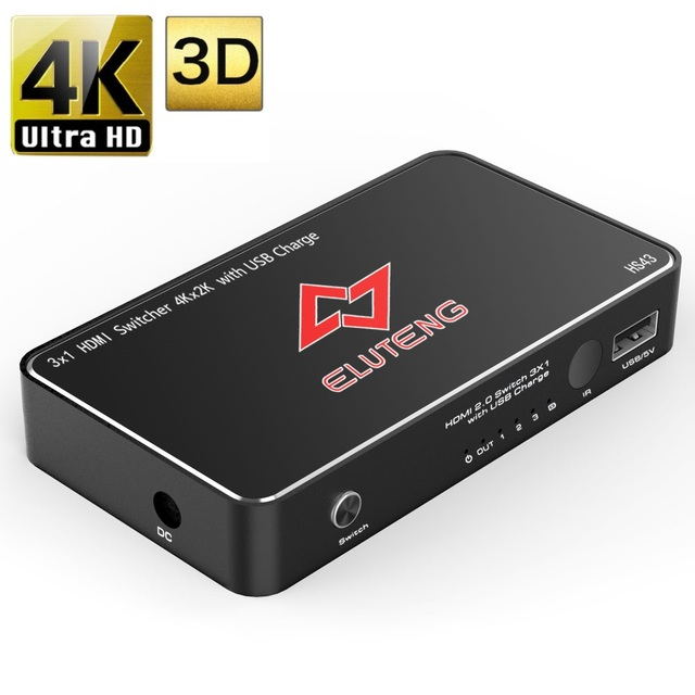ELUTENG HDMI 2.0 Switch 3x1 4K x 2K HDMI Selector Box 3 in 1 out with USB Charger Support PS4 PS3 Blu-Ray DVD Player Xbox 360