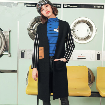 NewAutumn Women Vintage Brief V-Neck Long Sleeve Striped Casual Loose All-Match Black Knitted Long Trenchsweater