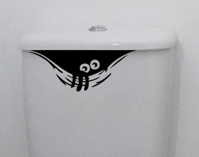 3D Dos Desenhos Animados Adesivos de Parede Engraçado Wc WC Etiqueta Do Carro À Prova D' Água Para Sala de estar Quarto Casa de Banho Preto Decoração Da Parede DO Vinil DO PVC