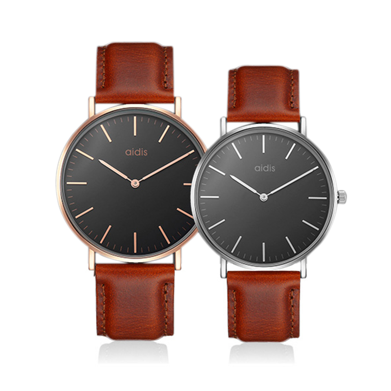 все цены на Men Women Genuine Leather Quartz Watch Waterproof Ultra-thin Casual Business Watch Unisex Lovers Watch Relojes Hombre 2018 Saat онлайн