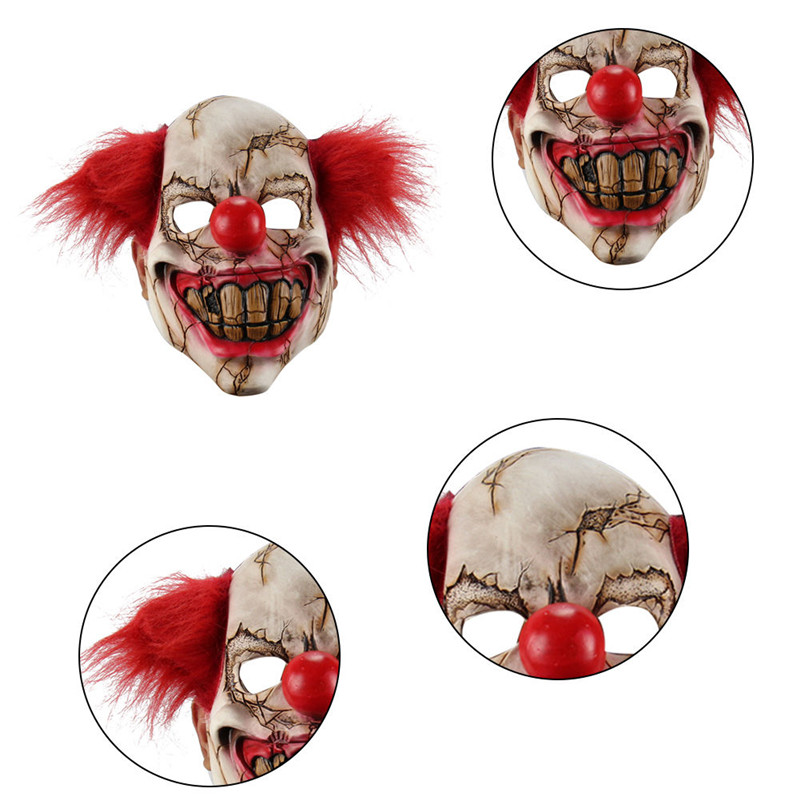 Deluxe Scary Horror Holloween Latex Full Face Clown Mask Adult Men with Red Hair Hallowe ...