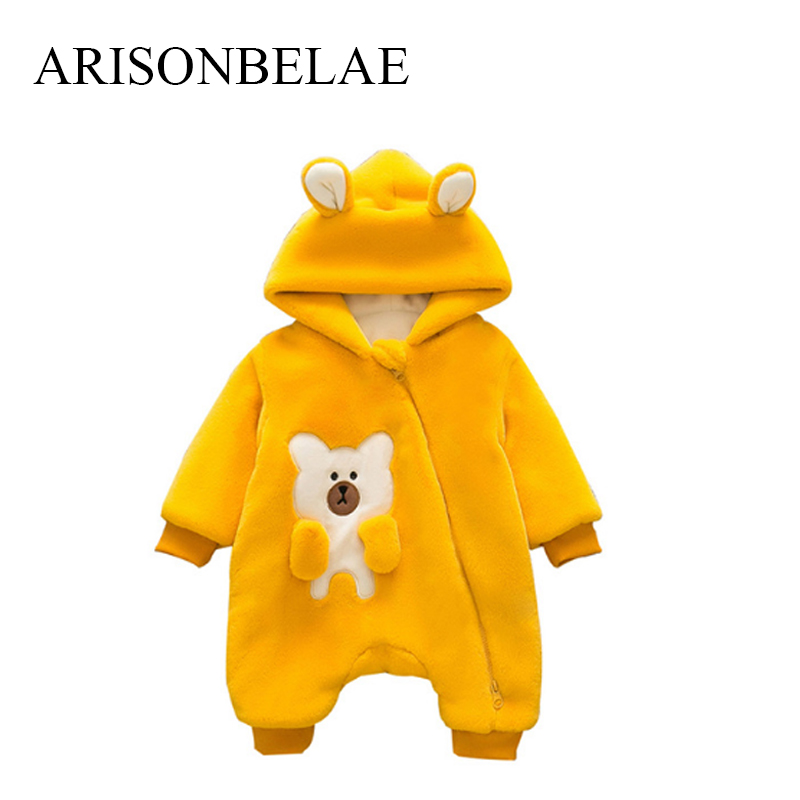 ARISONBELAE Christmas Baby Romper Zipper Newborn Warm Winter Jumpsuit Cute Bear Thick Infant Snow Unisex Outside Wear Romper puseky 2017 infant romper baby boys girls jumpsuit newborn bebe clothing hooded toddler baby clothes cute panda romper costumes