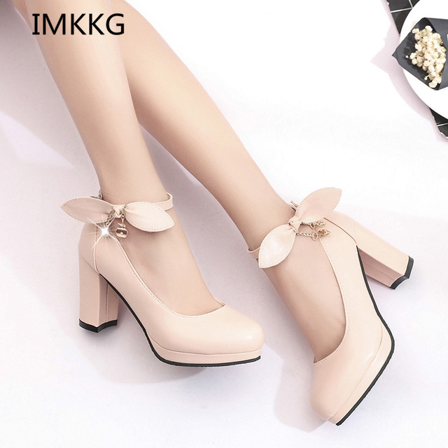 IMKKG New 2017 Summer Women Shoes Mary Jane Ladies High Heels White Wedding  Shoes Thick Heel df05c4ced946