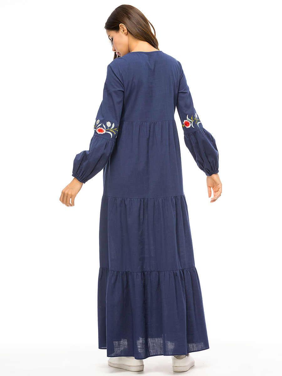 Женские мусульманские Абайи джинсовое Макси платье вышивка свободные бандажные платья Арабская мусульманская одежда для Дубай одежда длинные платья плюс размер Халат
