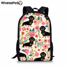 WHOSEPET Girls Schoolbag Flowers Printing School Backpack Cute Doxie Dog  Dachshund Satchel Brand Designer Book Bags For Teenager 05f27e4d75083