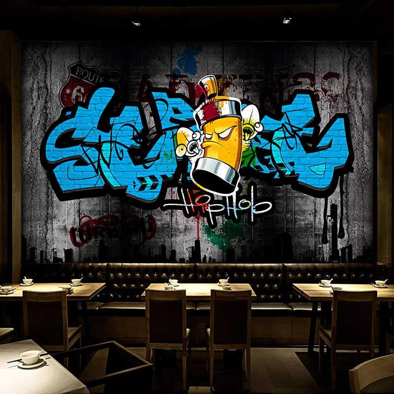 3D Graffiti Hip Hop Brick Wall Mural Wallpaper Bar Restaurant Cafe Backdrop