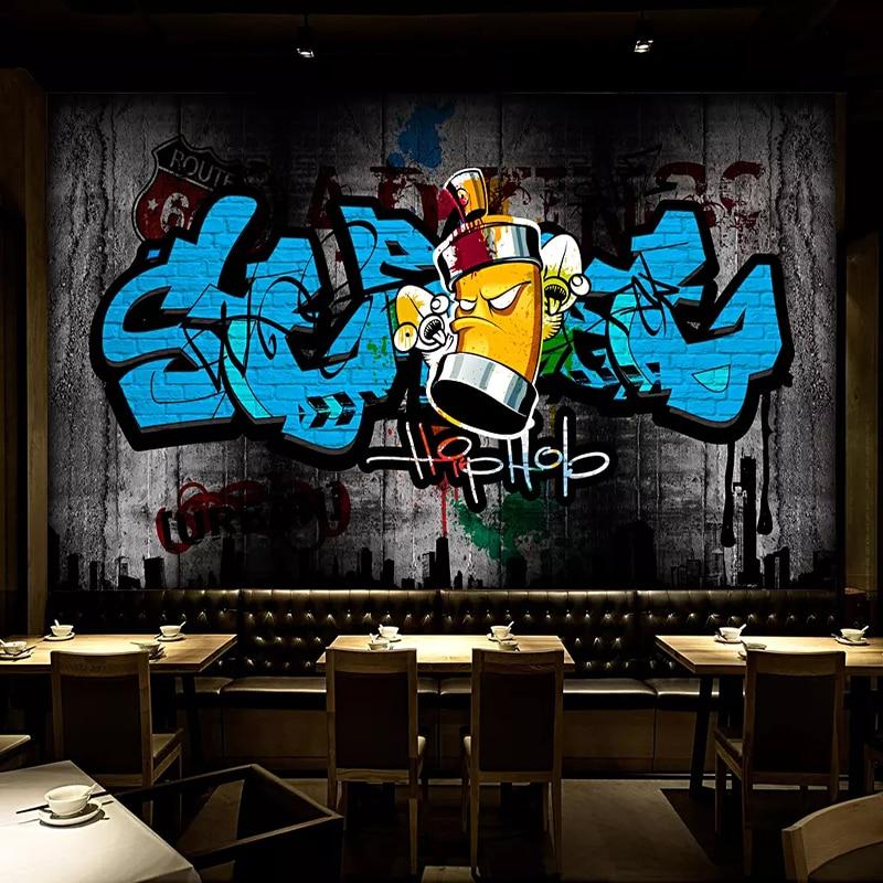 Custom 3D Wall Murals Wallpaper Retro Street Graffiti Art Wall Painting Cafe Bar KTV Background Wall Decoration Mural De Parede