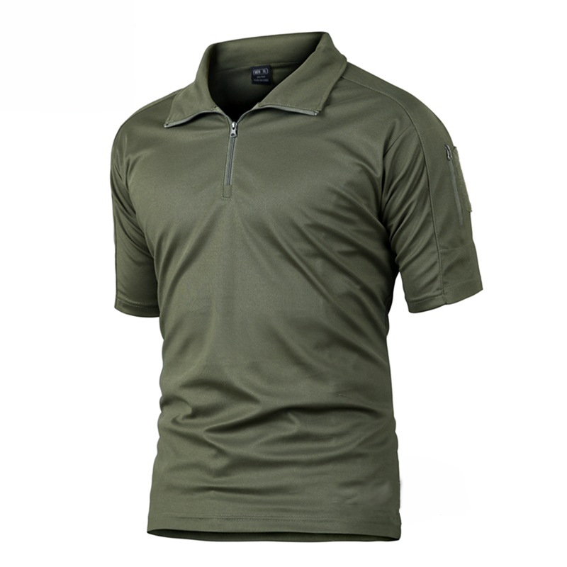 Cool Camouflage T-shirts Men T Shirts Zipper Quick Drying Breathable Short Hiking Hunting Military Tactical Tshirts Men Summer