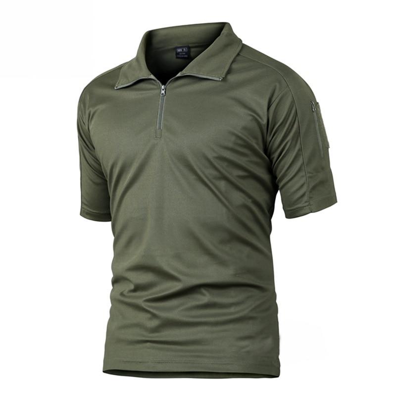 Camuflaje fresco Camisetas Hombre Camisetas Cremallera Secado rápido Transpirable Corto Senderismo Caza Militar Táctica Camisetas Hombres Verano
