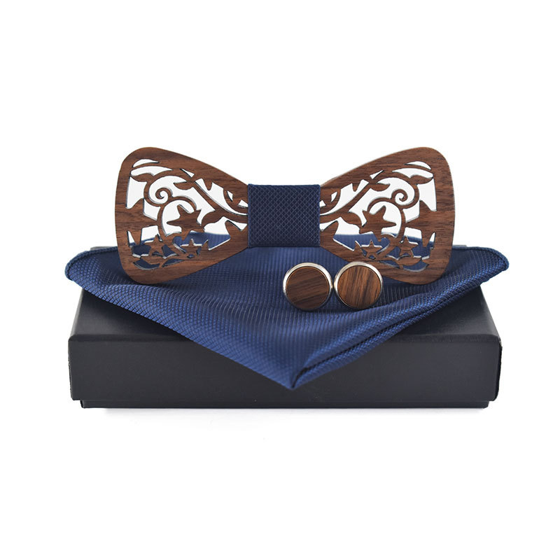 Wood Bowtie For Mens Wooden Bow Ties Floral Printed Handkerchief Bowknots Formal Casual Gravatas Slim Business Necktie