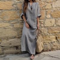 ZANZEA Fashion Autumn Spring Vintage Women Long Striped Dress Casual V Neck Long Sleeve Loose Long