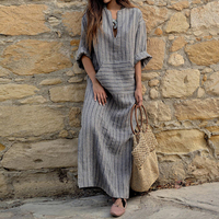 ZANZEA Fashion Summer Dress Vintage Women Long Striped Dress Casual V Neck Long Sleeve Loose Long