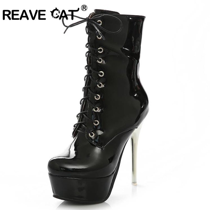 ddd1f7767c2a REAVE CAT High heels Boots Platform Women boots Patent leather Glitter  Zipper Knot Lace up Glitter Fashion Sexy QA3355